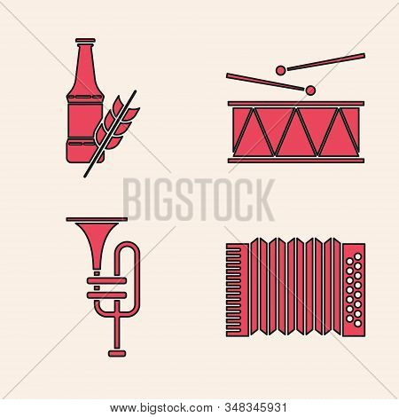 Set Musical instrument accordion, Beer bottle, Musical instrument drum and drum sticks and Musical instrument trumpet icon. Vector stock photo