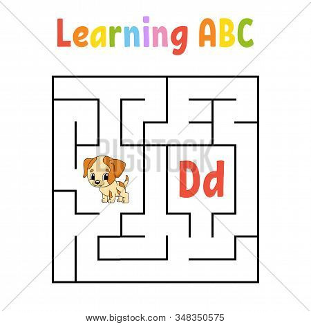 Square maze. Dog animal. Game for kids. Quadrate labyrinth. Education worksheet. Activity page. Learning English alphabet. Cartoon style. Find the right way. Color vector illustration. stock photo