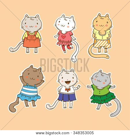 Vector set with cute cats. Funny animals in beautiful dresses. Baby illustration with fashionable kittens. Contour colorful image. Mini sticker pack. stock photo