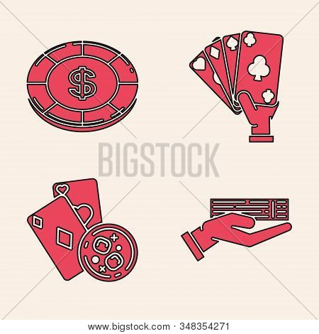 Set Hand holding deck of playing cards, Casino chip with dollar symbol, Hand holding playing cards and Playing cards and glass of whiskey with ice cubes icon. Vector stock photo