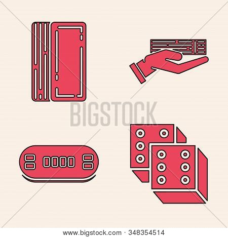 Set Game dice, Deck of playing cards, Hand holding deck of playing cards and Poker table icon. Vector stock photo