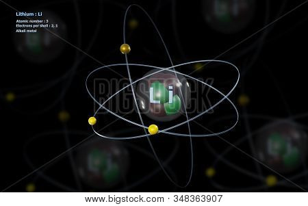 3D illustration of Atom of Lithium with detailed Core and its 3 Electrons with Atoms in background stock photo