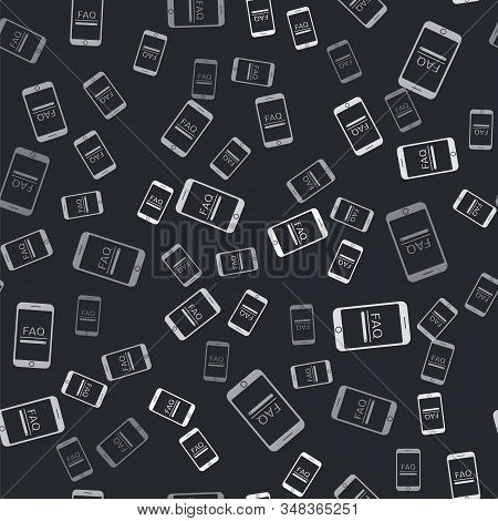 Grey Mobile phone with text FAQ information icon isolated seamless pattern on black background. Frequently asked questions. Vector Illustration stock photo