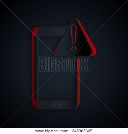 Paper cut Mobile phone with exclamation mark icon isolated on black background. Alert message smartphone notification. Paper art style. Vector Illustration stock photo