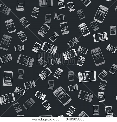 Grey Mobile phone with Question and Exclamation icon isolated seamless pattern on black background. Frequently asked questions. Vector Illustration stock photo