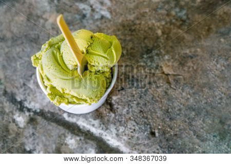 Ice cream in bowl on a grey stone background. Greek cuisine. European cuisine. Tasty food. European food concept. Food concept. Healthy food. Healthy lifestyle stock photo