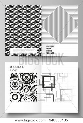 Vector layout of two A4 format modern cover mockups design templates for bifold brochure, flyer, booklet, report. Geometric abstract background in minimalistic flat style with dynamic composition. stock photo