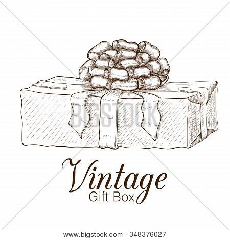 vintage gift box hand drawn. engraved present illustration isolated on white background. present box icon with lush bow and ribbon. wrapped gift sketch. Vector monochrome line art. Silhouette of box stock photo