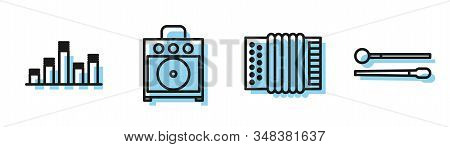 Set line Musical instrument accordion, Music equalizer, Guitar amplifier and Drum sticks icon. Vector stock photo