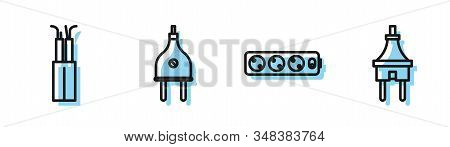 Set line Electric extension cord, Electric cable, Electric plug and Electric plug icon. Vector stock photo