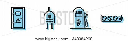 Set line Electric car charging station, Electrical cabinet, Electric plug and Electric extension cord icon. Vector stock photo