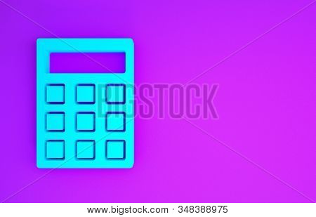 Blue Calculator icon isolated on purple background. Accounting symbol. Business calculations mathematics education and finance. Minimalism concept. 3d illustration 3D render stock photo