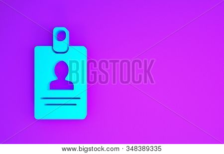 Blue Identification badge icon isolated on purple background. It can be used for presentation, identity of the company, advertising. Minimalism concept. 3d illustration 3D render stock photo