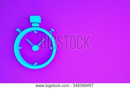 Blue Stopwatch icon isolated on purple background. Time timer sign. Chronometer sign. Minimalism concept. 3d illustration 3D render stock photo
