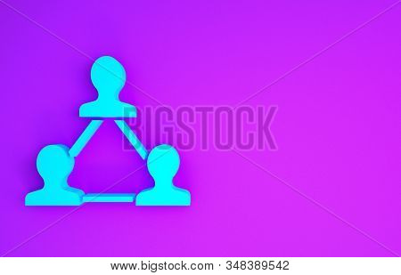 Blue Project team base icon isolated on purple background. Business analysis and planning, consulting, team work, project management. Developers. Minimalism concept. 3d illustration 3D render stock photo