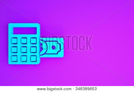 Blue Calculator with dollar symbol icon isolated on purple background. Money saving concept. Accounting symbol. Minimalism concept. 3d illustration 3D render stock photo