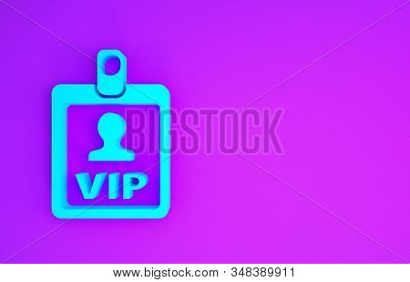 Blue VIP badge icon isolated on purple background. Minimalism concept. 3d illustration 3D render stock photo