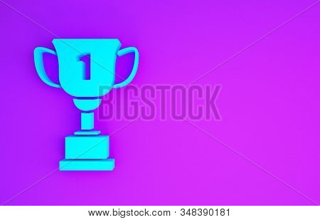 Blue Award cup icon isolated on purple background. Winner trophy symbol. Championship or competition trophy. Sports achievement sign. Minimalism concept. 3d illustration 3D render stock photo