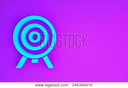 Blue Target icon isolated on purple background. Dart board sign. Archery board icon. Dartboard sign. Business goal concept. Minimalism concept. 3d illustration 3D render stock photo