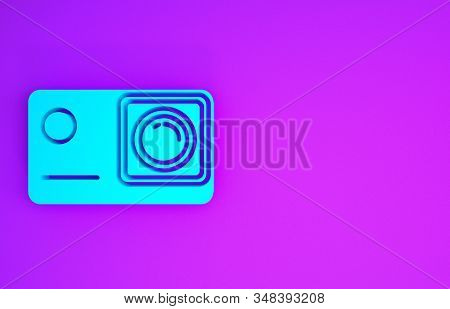 Blue Action extreme camera icon isolated on purple background. Video camera equipment for filming extreme sports. Minimalism concept. 3d illustration 3D render stock photo