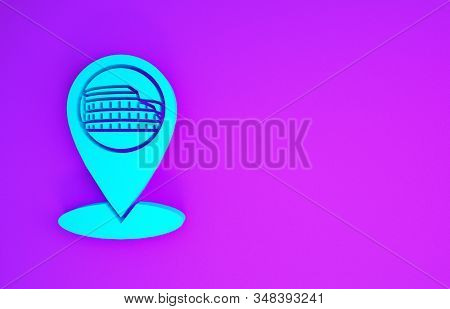 Blue Map pointer with Coliseum in Rome, Italy icon isolated on purple background. Colosseum sign. Symbol of Ancient Rome, gladiator fights. Minimalism concept. 3d illustration 3D render stock photo