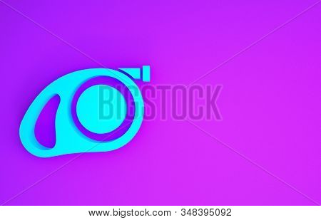 Blue Retractable cord leash with carabiner icon isolated on purple background. Pet dog lead. Pet supplies. Animal accessory for outdoors walk. Minimalism concept. 3d illustration 3D render stock photo
