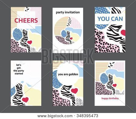 Set of colorful hand drawn universal cards and posters. Great texture design for birthday, wedding, date, St. Valentine's Day, sale, anniversary invitations, cards, posters, flyers, banners with a place for your text. stock photo