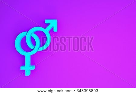 Blue Gender icon isolated on purple background. Symbols of men and women. Sex symbol. Minimalism concept. 3d illustration 3D render stock photo
