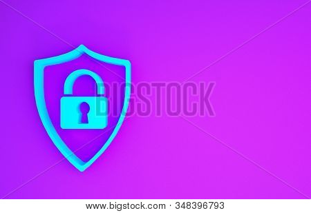Blue Shield security with lock icon isolated on purple background. Protection, safety, password security. Firewall access privacy sign. Minimalism concept. 3d illustration 3D render stock photo