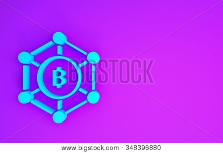 Blue Blockchain technology Bitcoin icon isolated on purple background. Abstract geometric block chain network technology business. Minimalism concept. 3d illustration 3D render stock photo