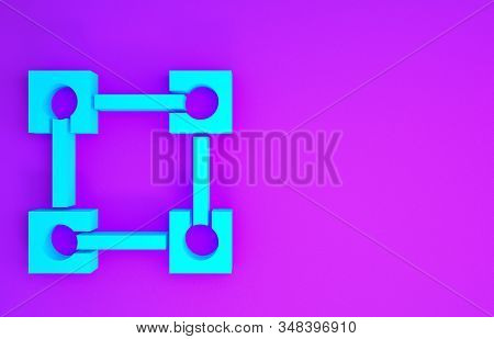 Blue Blockchain technology icon isolated on purple background. Cryptocurrency data. Abstract geometric block chain network technology business. Minimalism concept. 3d illustration 3D render stock photo