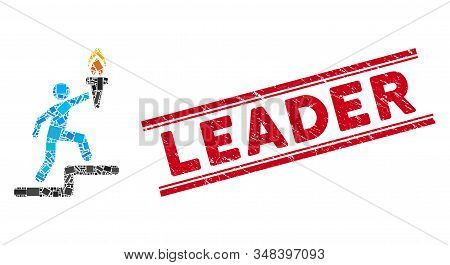 Mosaic leader with torch pictogram and red Leader stamp between double parallel lines. Flat vector leader with torch mosaic pictogram of random rotated rectangle elements. stock photo