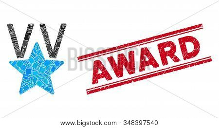 Mosaic star victory award icon and red Award seal stamp between double parallel lines. Flat vector star victory award mosaic icon of randomized rotated rectangular elements. stock photo