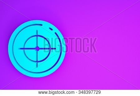 Blue Target sport for shooting competition icon isolated on purple background. Clean target with numbers for shooting range or shooting. Minimalism concept. 3d illustration 3D render stock photo