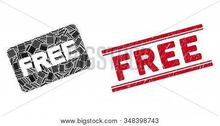 Mosaic free card icon and red Free seal stamp between double parallel lines. Flat vector free card mosaic icon of randomized rotated rectangular items. Red Free seal stamp with corroded textures. stock photo