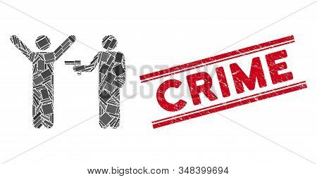 Mosaic crime robbery pictogram and red Crime rubber print between double parallel lines. Flat vector crime robbery mosaic pictogram of random rotated rectangle items. stock photo