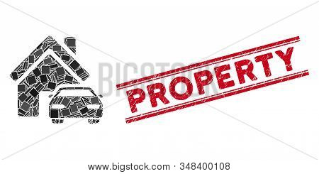 Mosaic property pictogram and red Property rubber print between double parallel lines. Flat vector property mosaic pictogram of scattered rotated rectangular items. stock photo