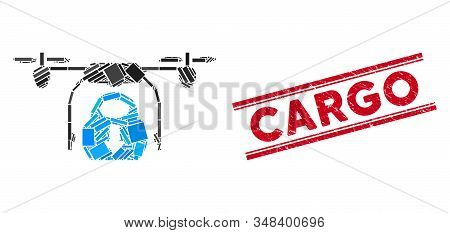 Mosaic drone drop cargo icon and red Cargo seal stamp between double parallel lines. Flat vector drone drop cargo mosaic icon of randomized rotated rectangle elements. stock photo