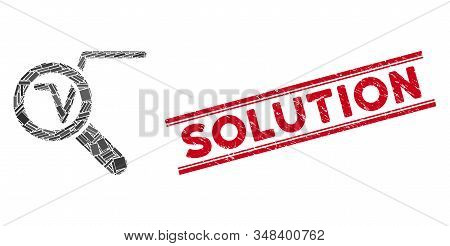 Mosaic search math solution pictogram and red Solution seal stamp between double parallel lines. Flat vector search math solution mosaic pictogram of randomized rotated rectangle elements. stock photo