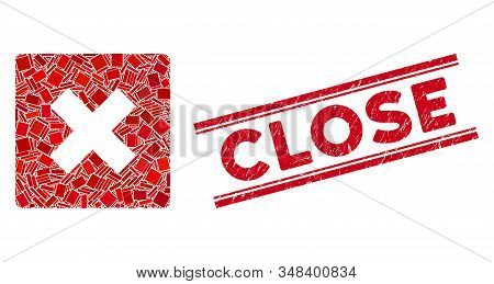 Mosaic close icon and red Close stamp between double parallel lines. Flat vector close mosaic icon of randomized rotated rectangle items. Red Close seal stamp with corroded surface. stock photo