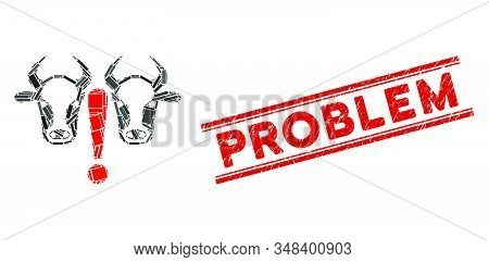 Mosaic cow problem icon and red Problem seal stamp between double parallel lines. Flat vector cow problem mosaic icon of random rotated rectangle elements. stock photo