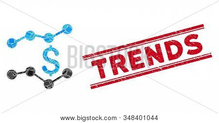 Mosaic trends icon and red Trends seal stamp between double parallel lines. Flat vector trends mosaic icon of scattered rotated rectangular elements. Red Trends seal stamp with distress textures. stock photo