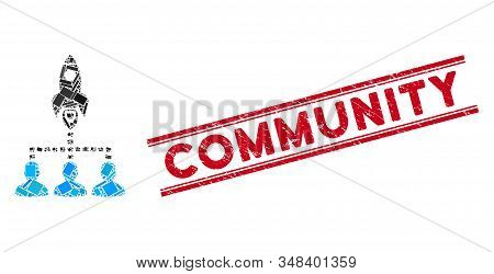 Mosaic rocket space community icon and red Community seal stamp between double parallel lines. Flat vector rocket space community mosaic pictogram of randomized rotated rectangle elements. stock photo