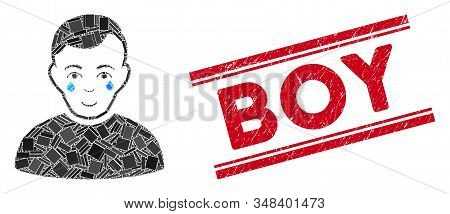 Mosaic crying boy icon and red Boy rubber print between double parallel lines. Flat vector crying boy mosaic icon of randomized rotated rectangular items. Red Boy seal with rubber texture. stock photo