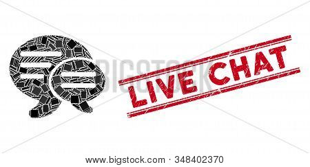 Mosaic chat pictogram and red Live Chat seal between double parallel lines. Flat vector chat mosaic pictogram of scattered rotated rectangle items. Red Live Chat rubber seal with scratched textures. stock photo