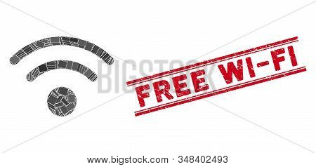 Mosaic Wi-Fi icon and red Free Wi-Fi stamp between double parallel lines. Flat vector Wi-Fi mosaic icon of scattered rotated rectangle elements. Red Free Wi-Fi rubber stamp with distress texture. stock photo