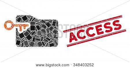 Mosaic folder access key icon and red Access seal stamp between double parallel lines. Flat vector folder access key mosaic icon of random rotated rectangle items. stock photo
