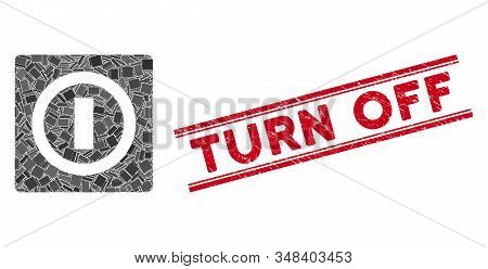 Mosaic switch icon and red Turn Off seal stamp between double parallel lines. Flat vector switch mosaic icon of scattered rotated rectangle items. Red Turn Off rubber seal with grunge texture. stock photo