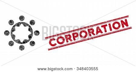 Mosaic union corporation pictogram and red Corporation watermark between double parallel lines. Flat vector union corporation mosaic pictogram of scattered rotated rectangle elements. stock photo