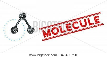 Mosaic molecule structure analysis icon and red Molecule stamp between double parallel lines. Flat vector molecule structure analysis mosaic icon of randomized rotated rectangle elements. stock photo